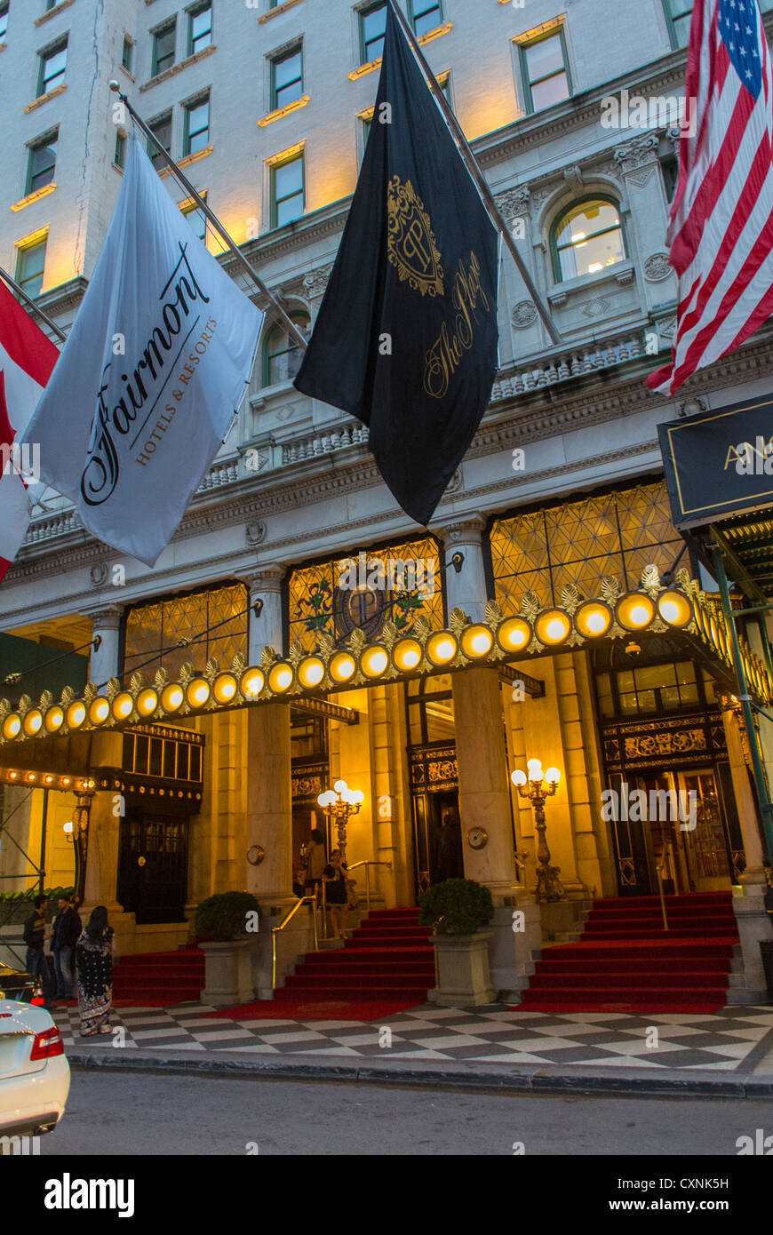 New York, Street Scenes, Outside, 5 star hotel entrance Front of the Plaza Hotel, Manhattan - Stock Image