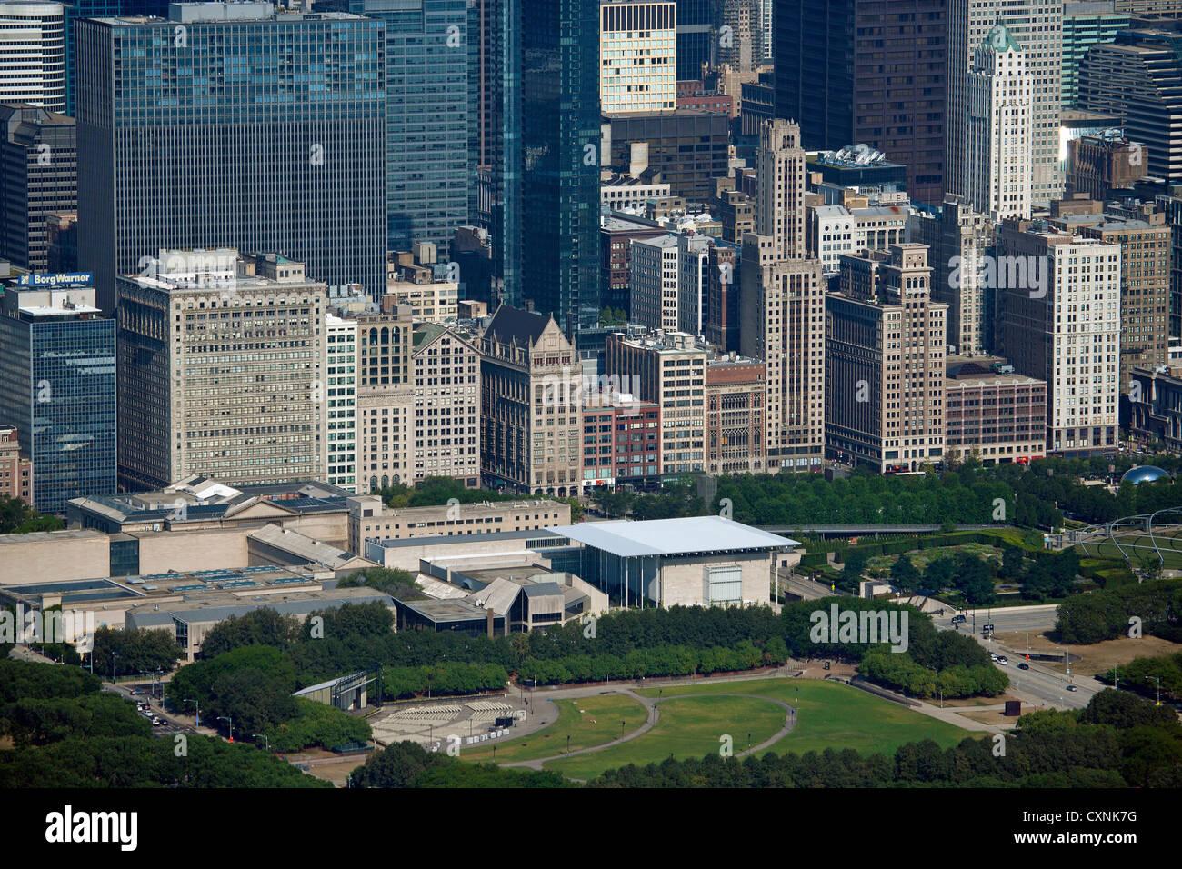 aerial photograph Michigan Avenue Chicago, Illinois - Stock Image