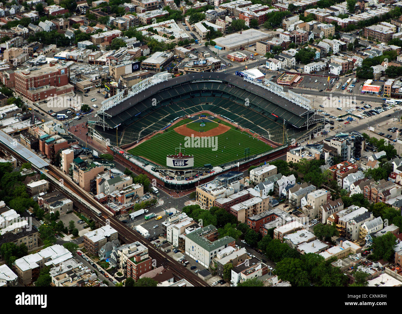 aerial photograph Wrigley Field, Chicago, Illinois - Stock Image