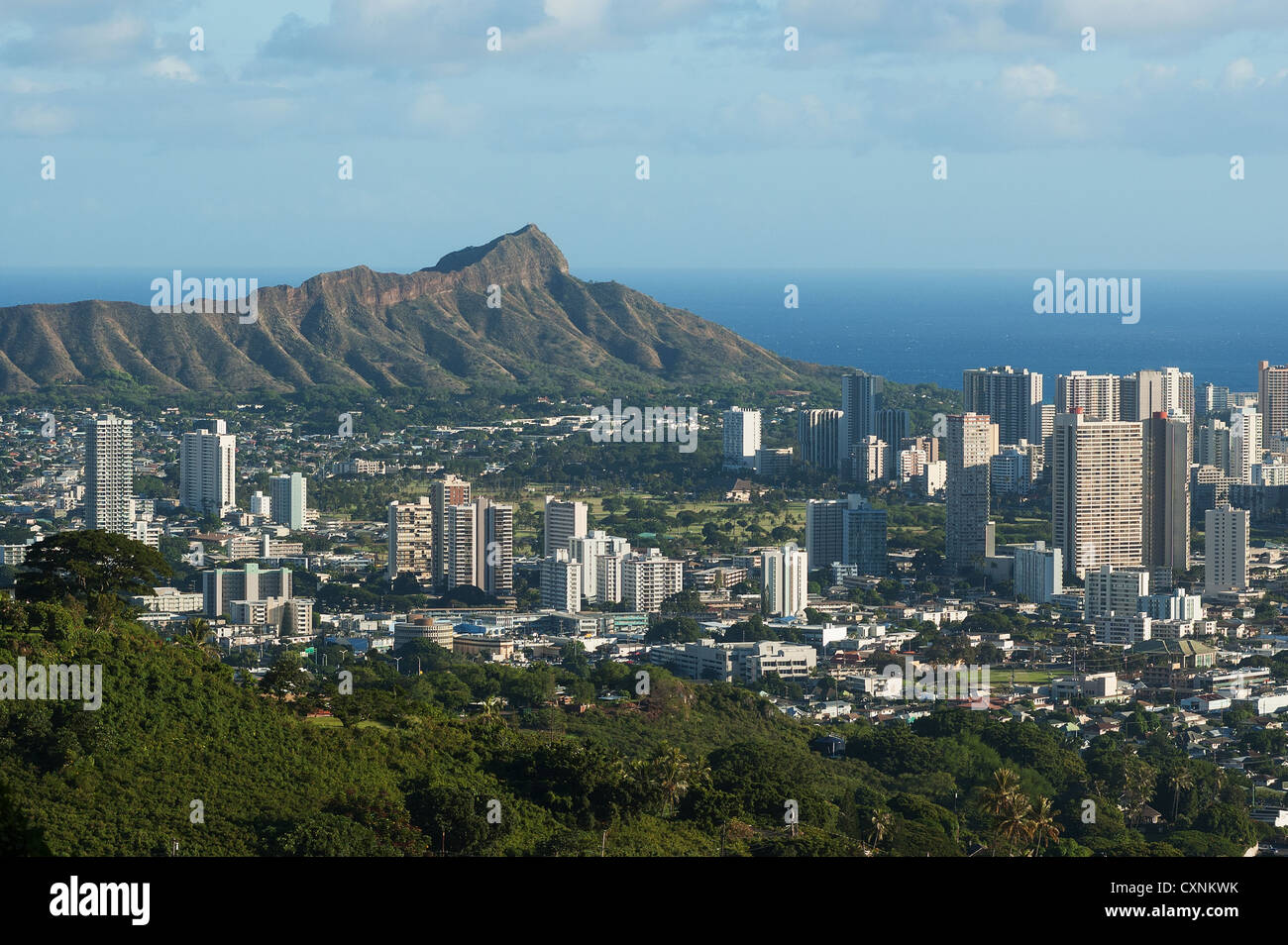 Elk284-1652 Hawaii, Oahu, Honolulu, Waikiki with Diamond Head Stock Photo