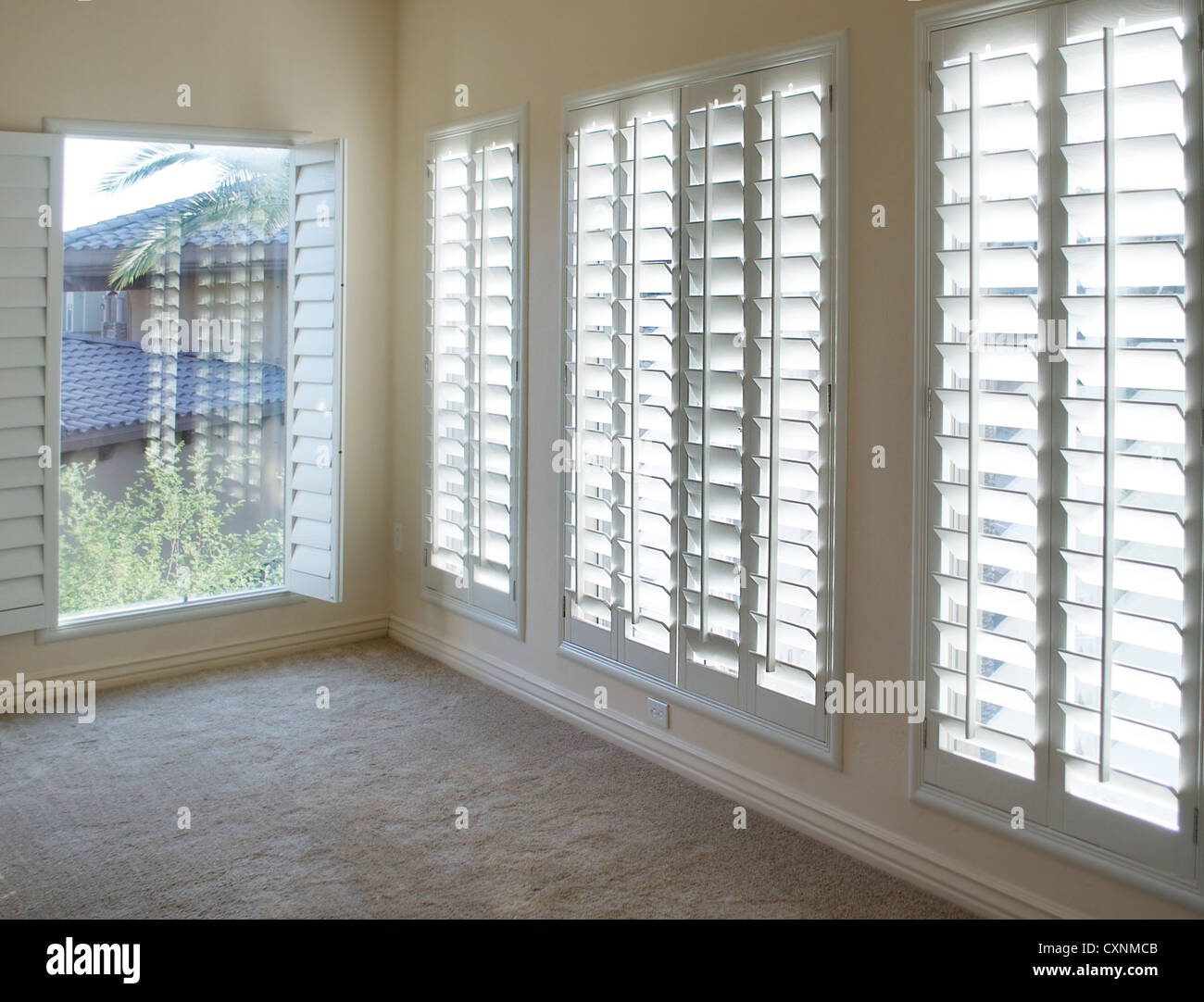 White Plantation Style Wood Shutters For Luxury Interior
