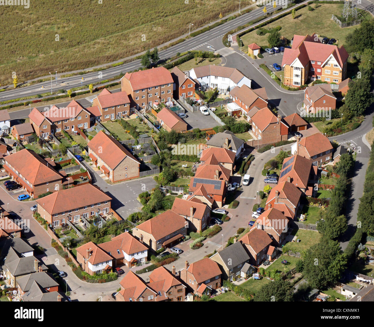 aerial view of modern houses - Stock Image