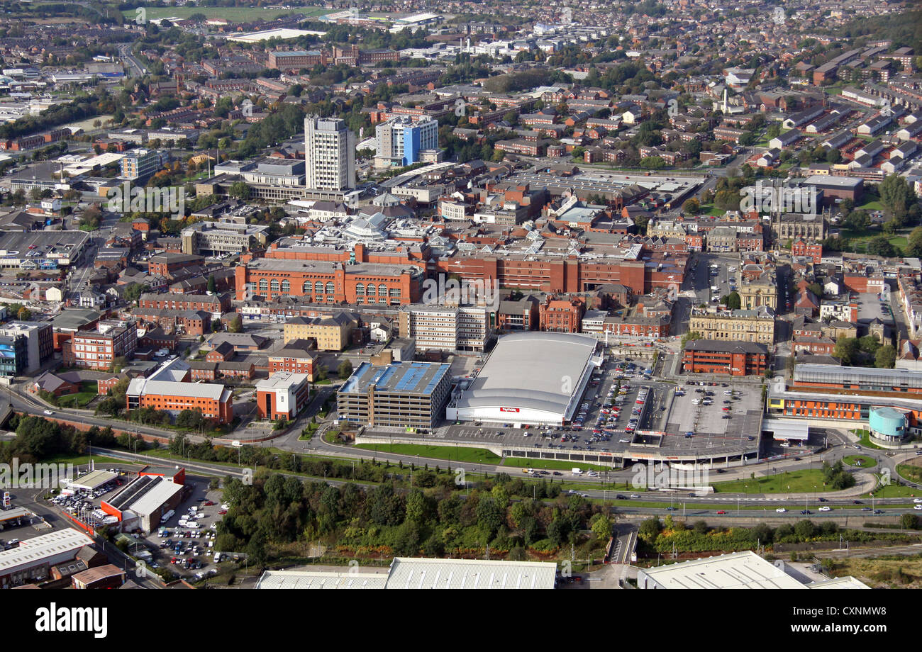 aerial view of Oldham town centre - Stock Image