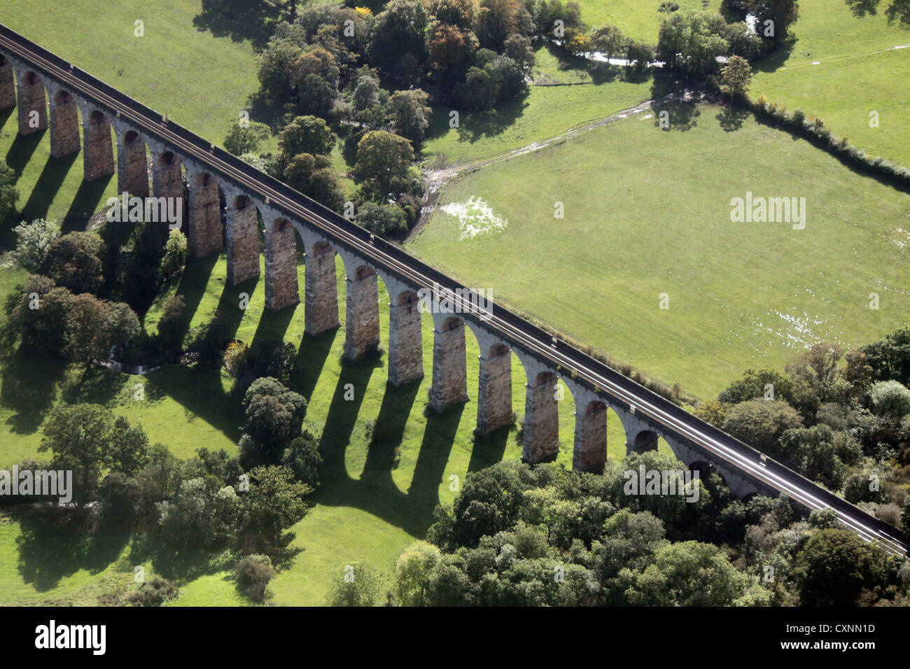 aerial view of a railway viaduct in Lancashire - Stock Image