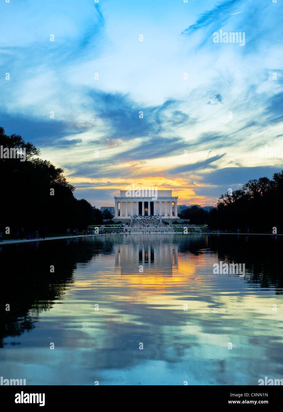 The Lincoln Memorial with dramatic sky and reflection in the newly refurbished reflecting pool. Washington DC - Stock Image