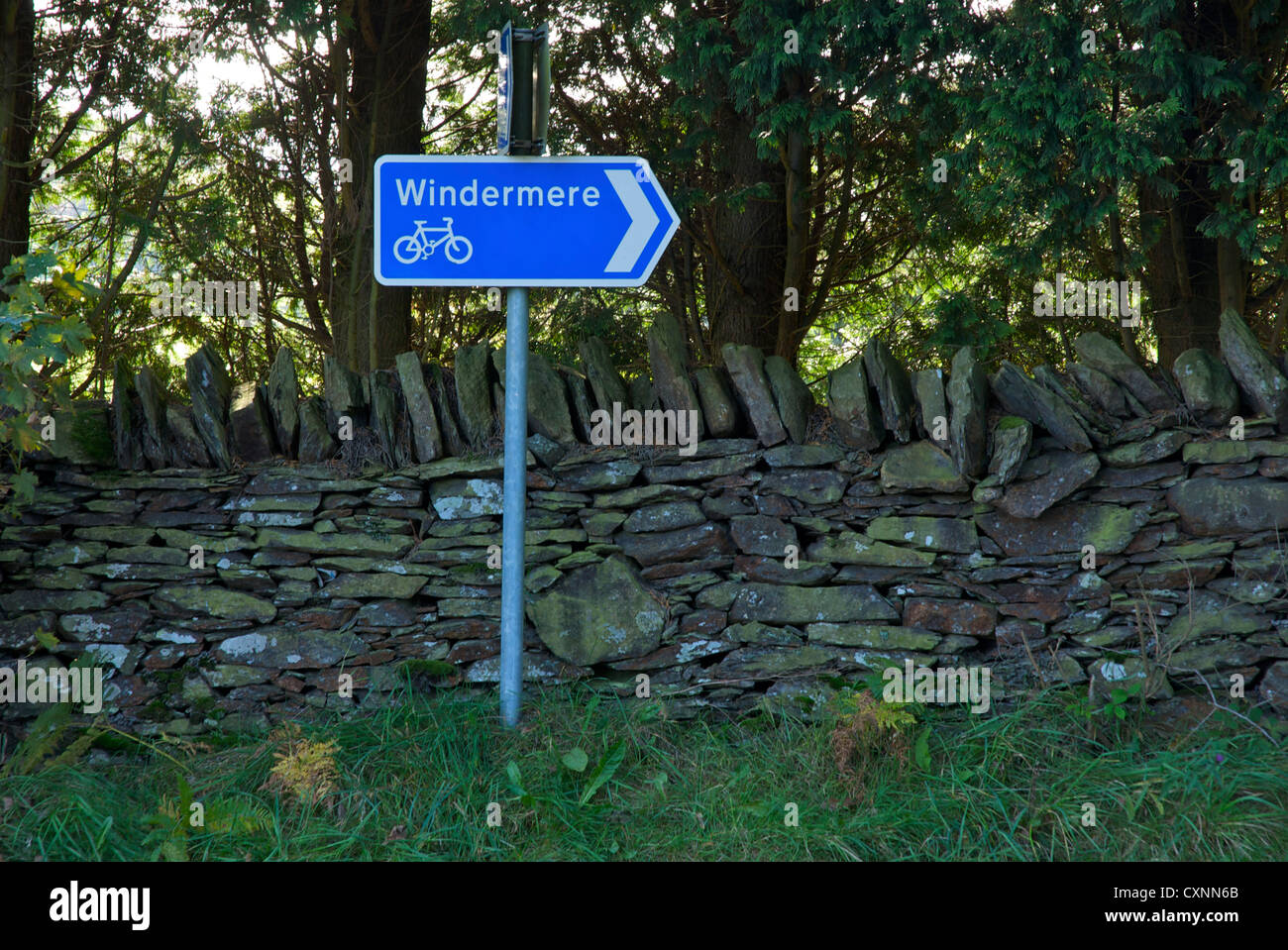 Sign for Cumbrian Cycleway, pointing in the direction of Windermere, Lake District National Park, Cumbria, England - Stock Image