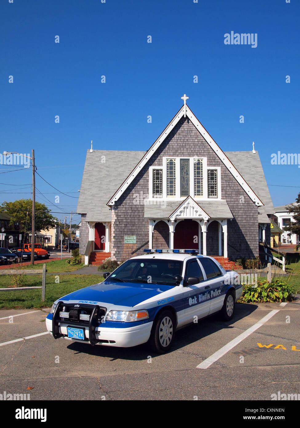 Oak Bluffs Police car, Oak Bluffs, Martha's Vineyard, Massachusetts, USA - Stock Image