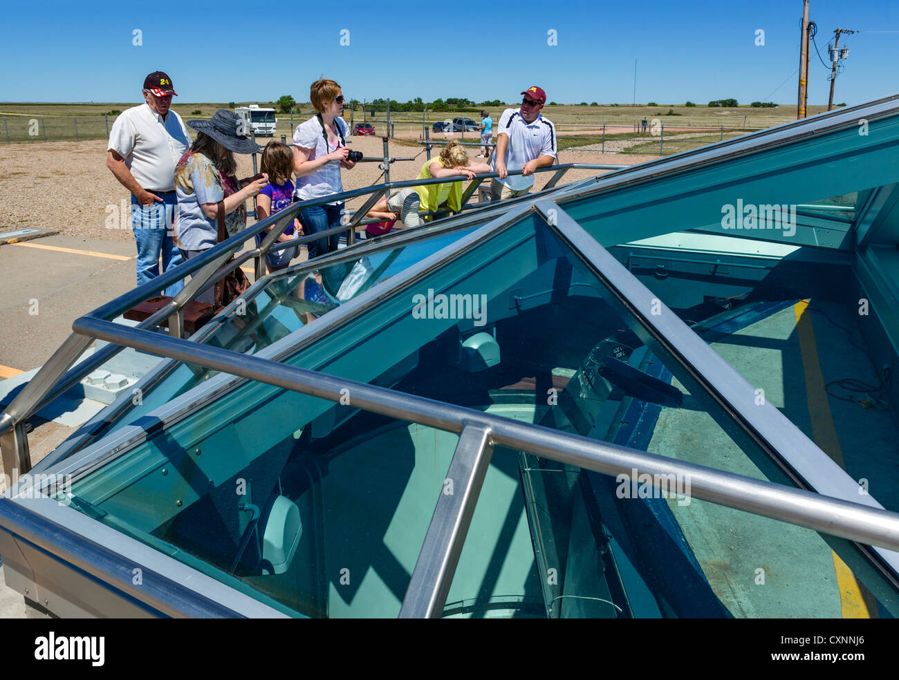 Tourists at the Minuteman II ICBM missile silo at the Minuteman Missile National Historic Site, near Wall, South - Stock Image