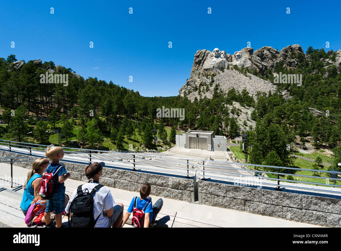 Family on the Grand View Terrace at the Mount Rushmore National Memorial, Black Hills, South Dakota, USA - Stock Image