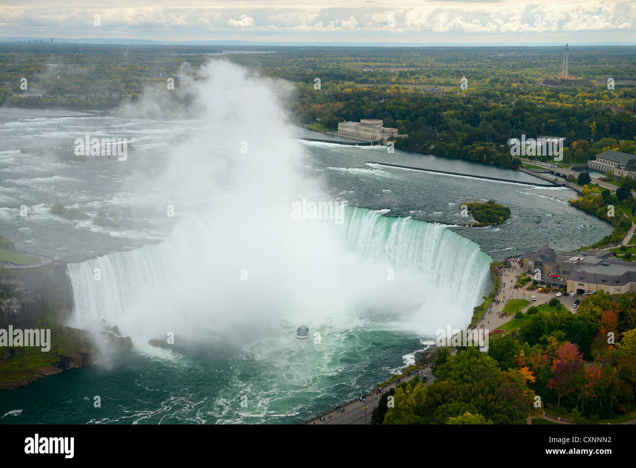 Aerial view of Canadian Horseshoe Falls and Table Rock Welcome Centre at Niagara Falls Ontario Canada - Stock Image