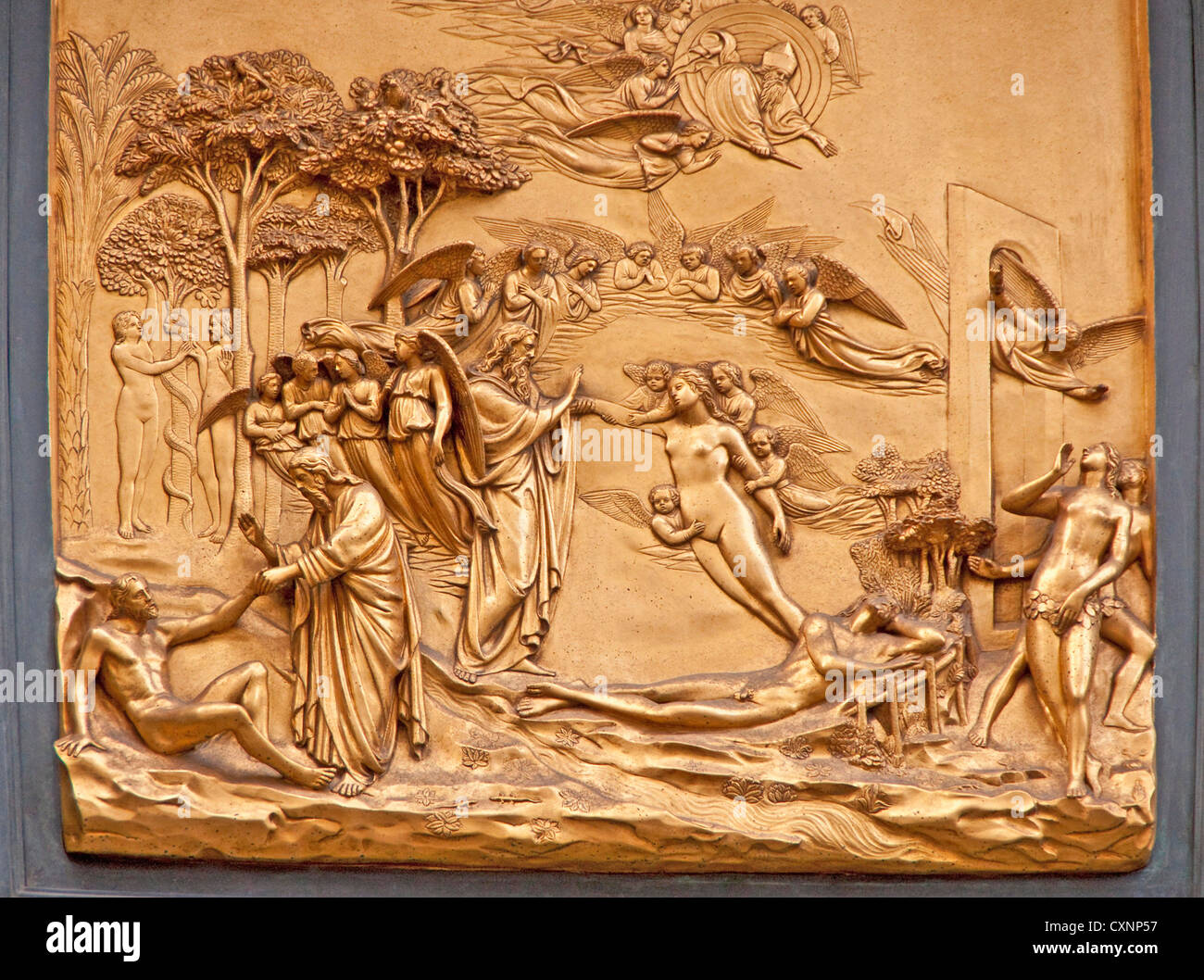Baptistry of Saint John door panel Gates of Paradise depicting Adam and Eve by Lorenzo Ghiberti on east portal & Baptistry of Saint John door panel Gates of Paradise depicting ...
