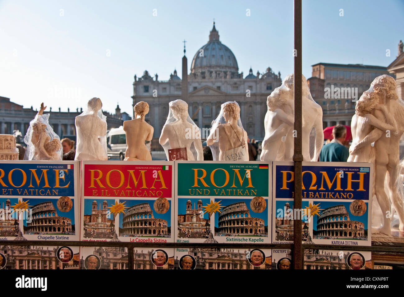Rome souvenir shop facing St. Peter's Basilica in the Vatican - Stock Image