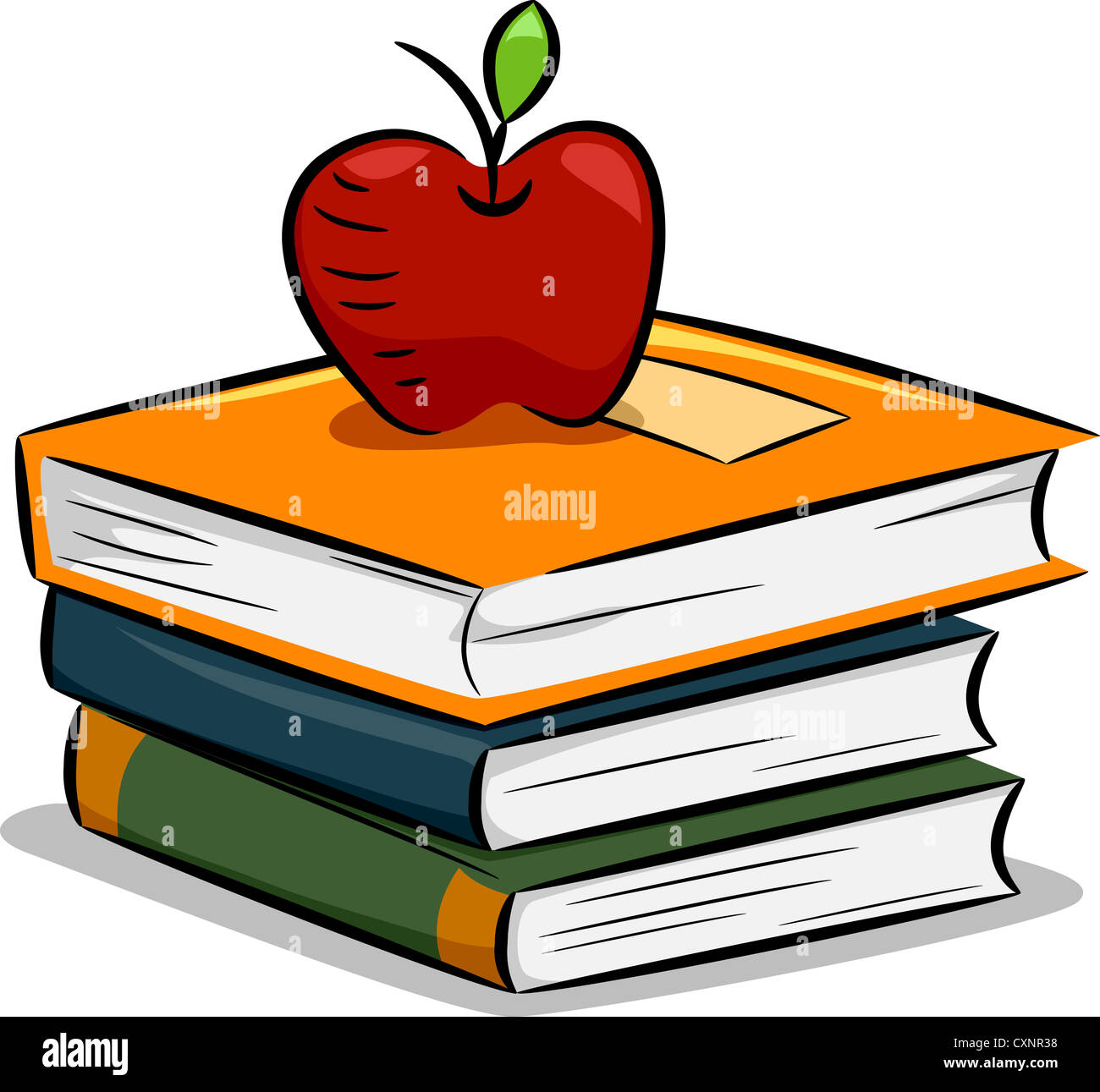 Illustration of an Apple Resting on a Pile of Books Stock Photo