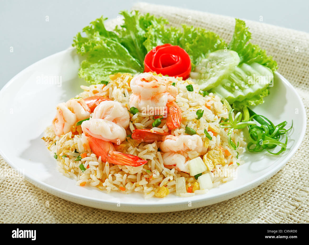 Fried Rice With Shrimp Or Prawn A Taste Of Asian Food Isolated Stock