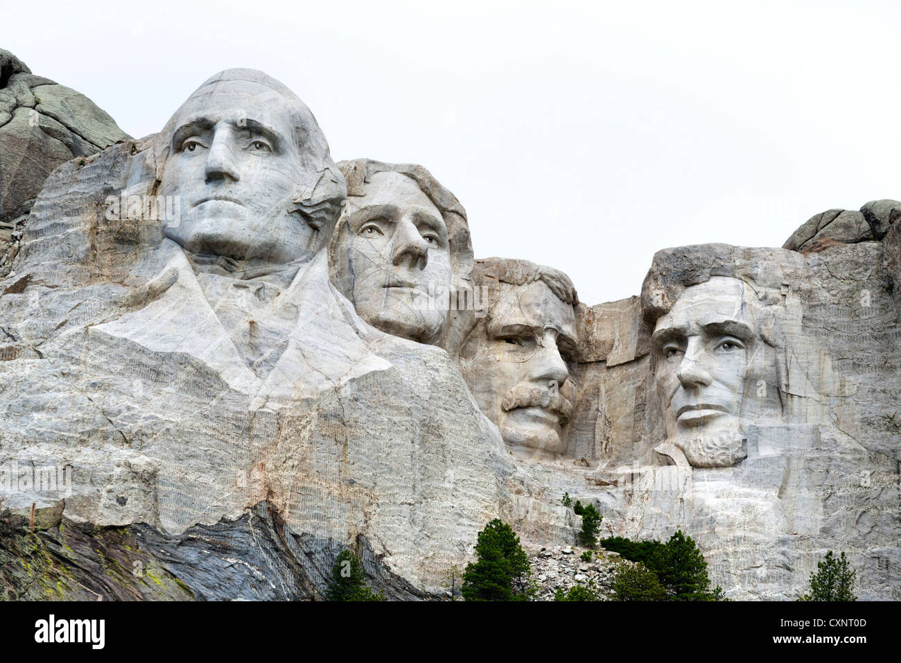 Faces of the four presidents at Mount Rushmore National Memorial viewed from  Grand View Terrace, Black Hills, South Stock Photo