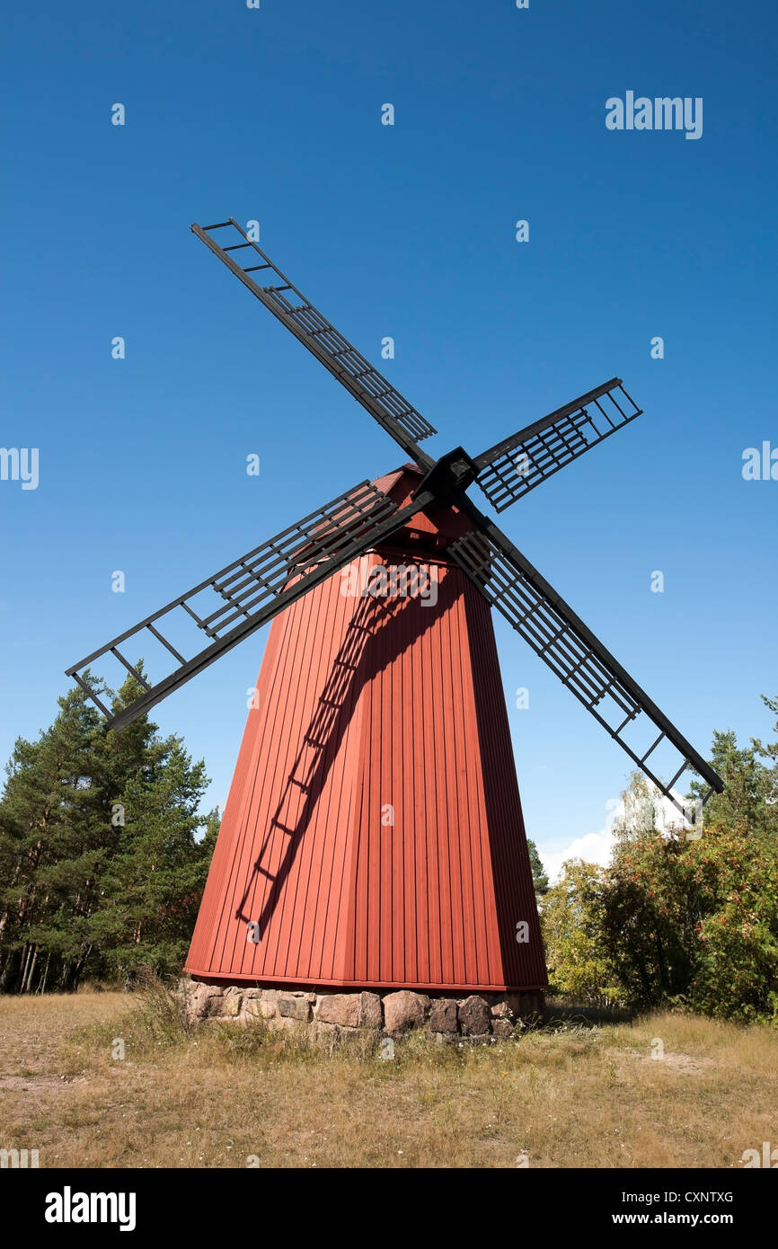 old wooden windmill in Loviisa, Finland - Stock Image