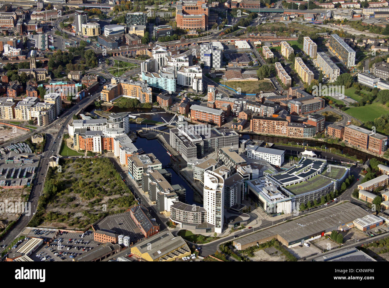 aerial view of Clarence Dock in Leeds - Stock Image