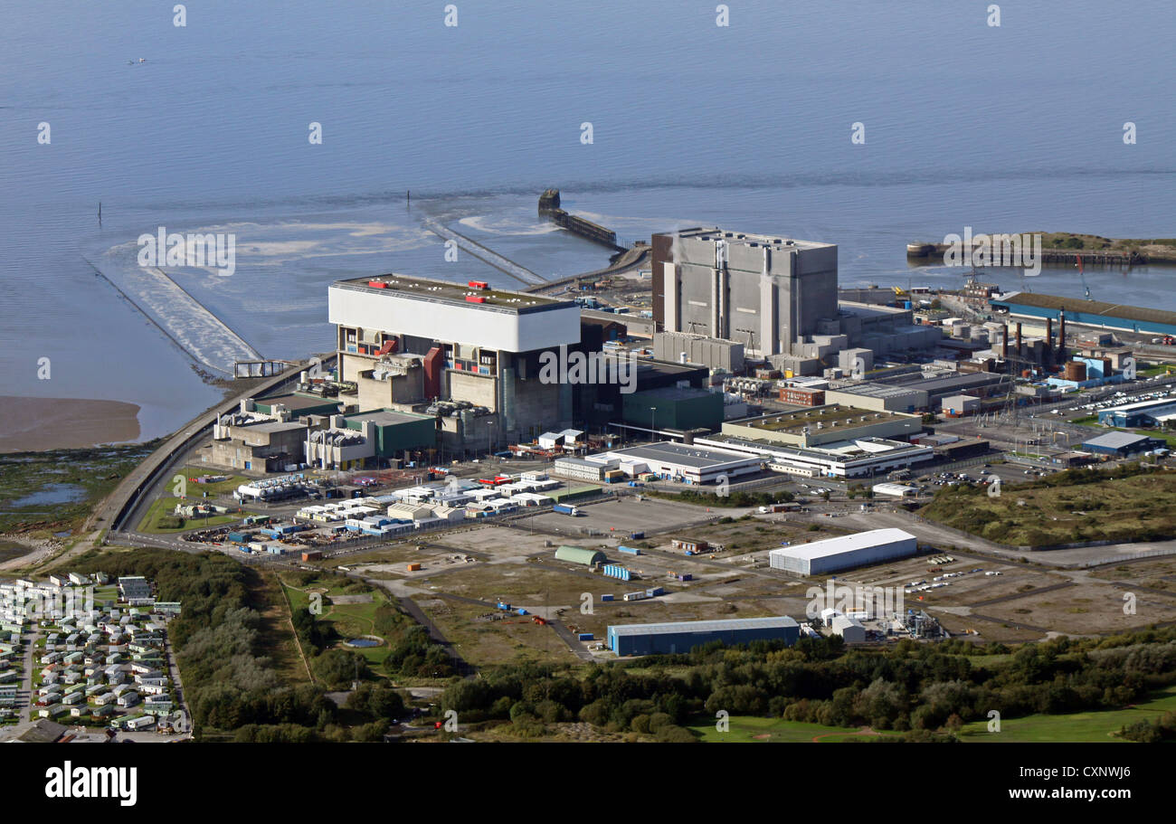 aerial view of Heysham nuclear Power Station in Cumbria - Stock Image