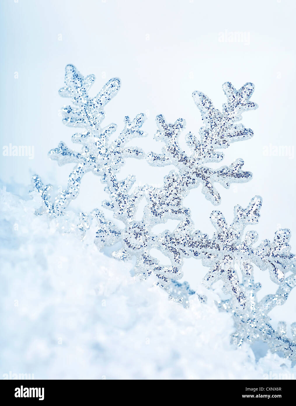 Beautiful blue snowflake winter holiday background - Stock Image