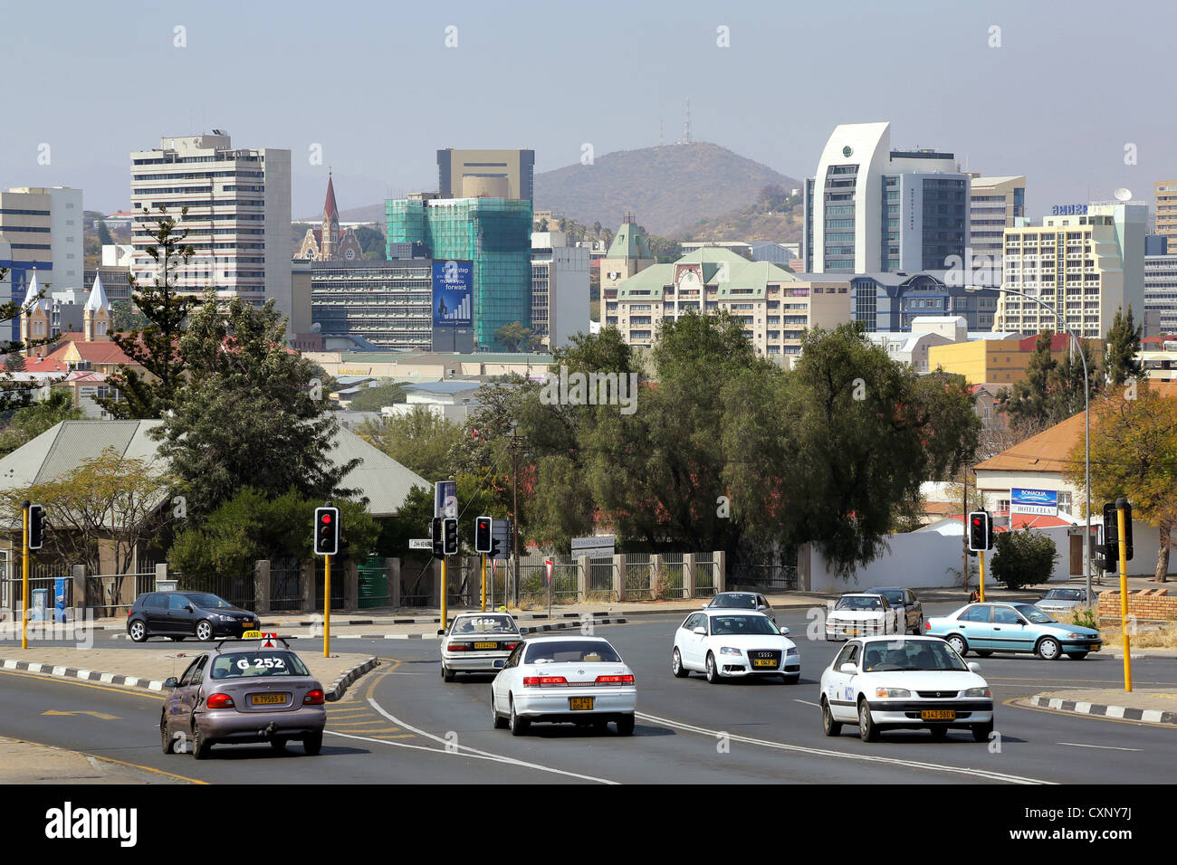 street and skyline of Windhoek, Namibia - Stock Image