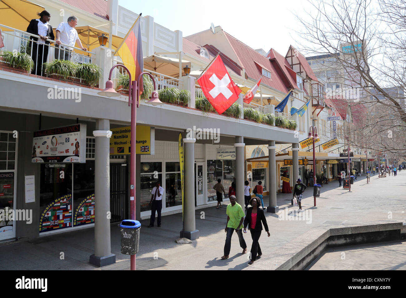 german shops at Independence Avenue in Windhoek, Namibia - Stock Image