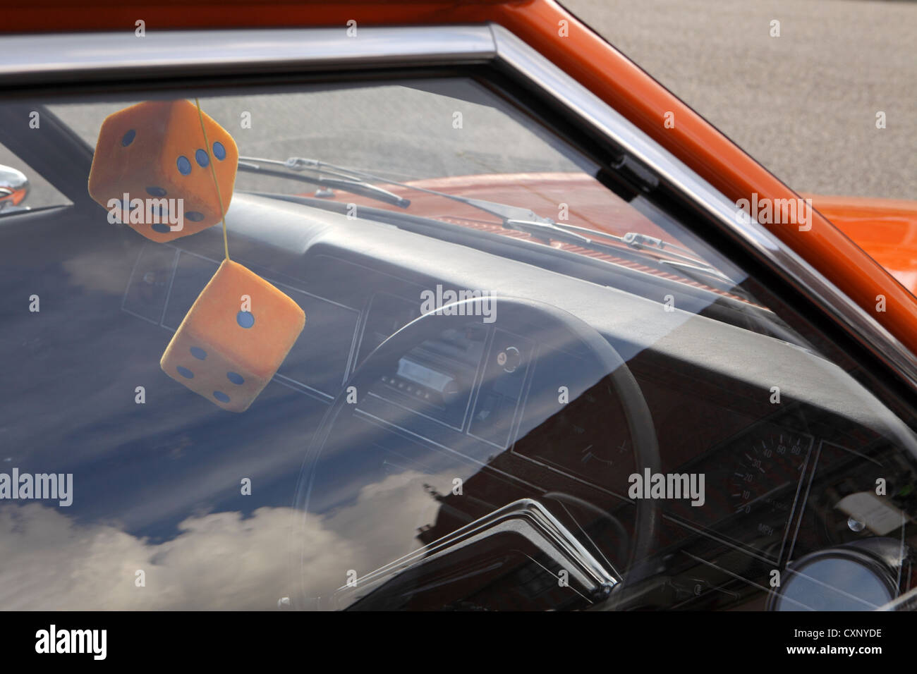 Pair Large Orange Fuzzy Furry Dice Hanging From Rear View Mirror