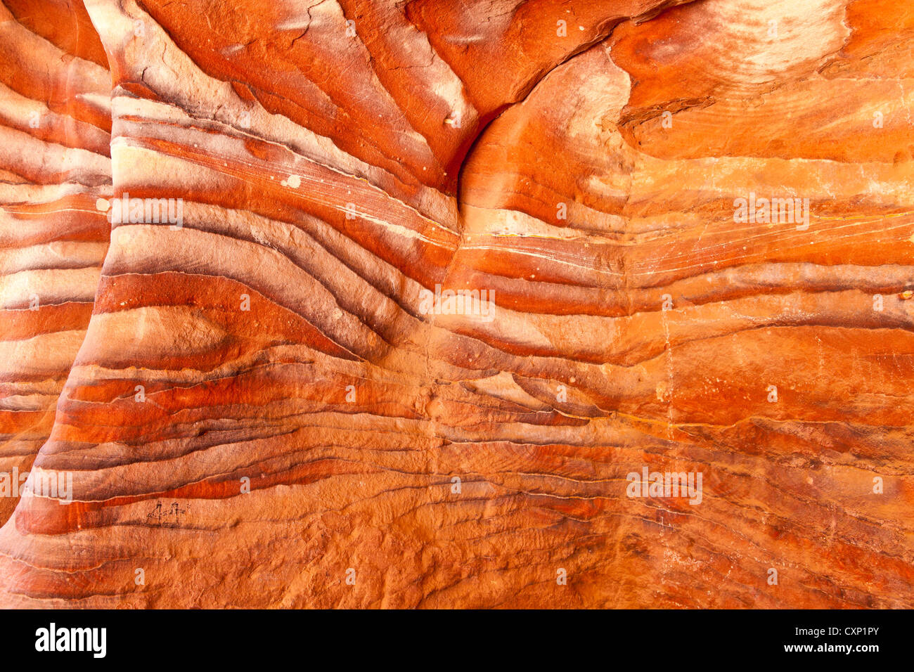 rock pattern in the tomb at petra Stock Photo