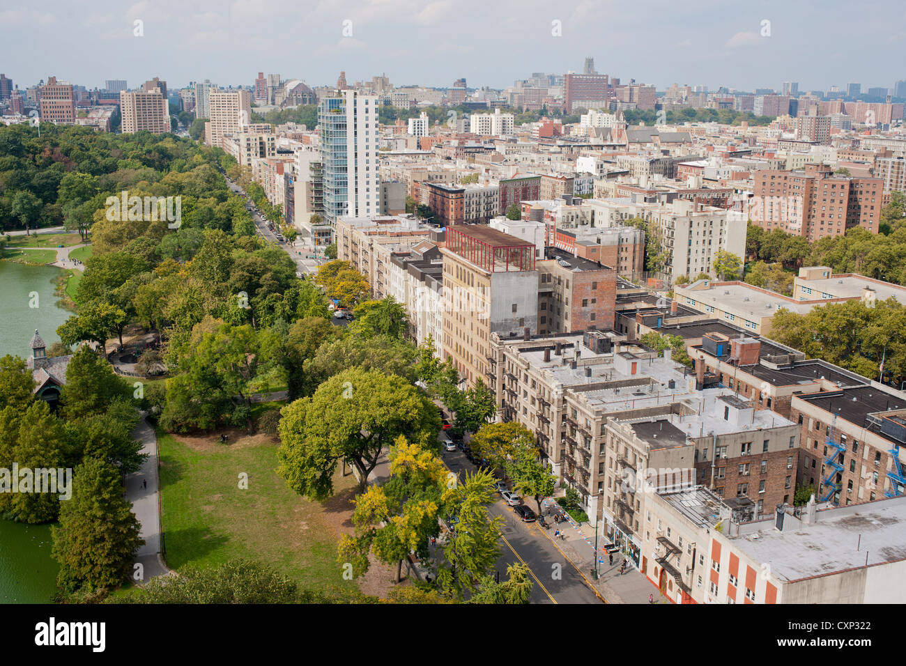 The northern end of Central Park where it meets Harlem - Stock Image