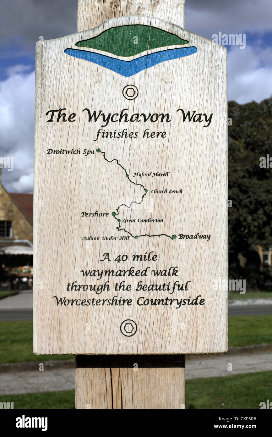 Diagram of the route of the Wychavon Way from Broadway to Droitwich on a sign post in Broadway, Gloucestershire. Stock Photo