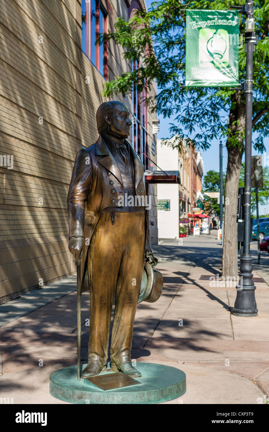 Statue of John Quincy Adams, one of series of lifesize bronze statues of US presidents in downtown Rapid City, South - Stock Image