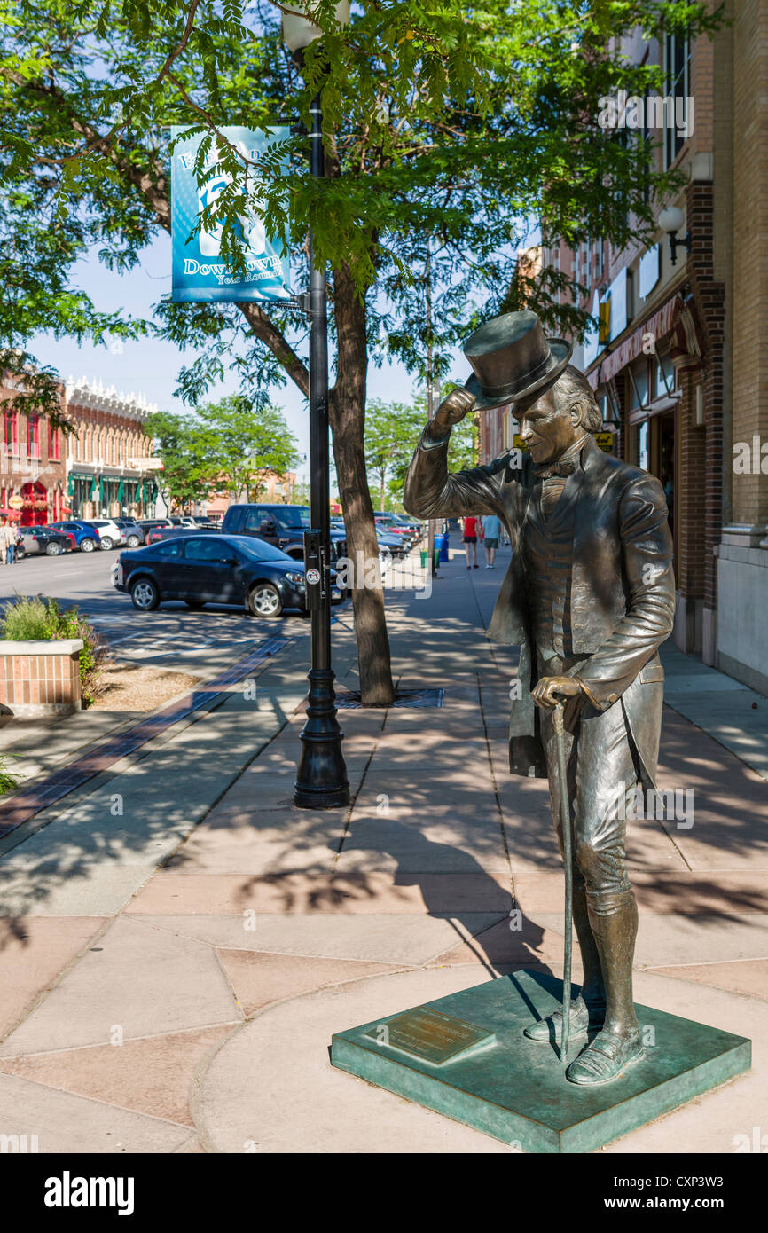 Statue of President James Monroe (5th US President) in downtown Rapid City, South Dakota, USA - Stock Image