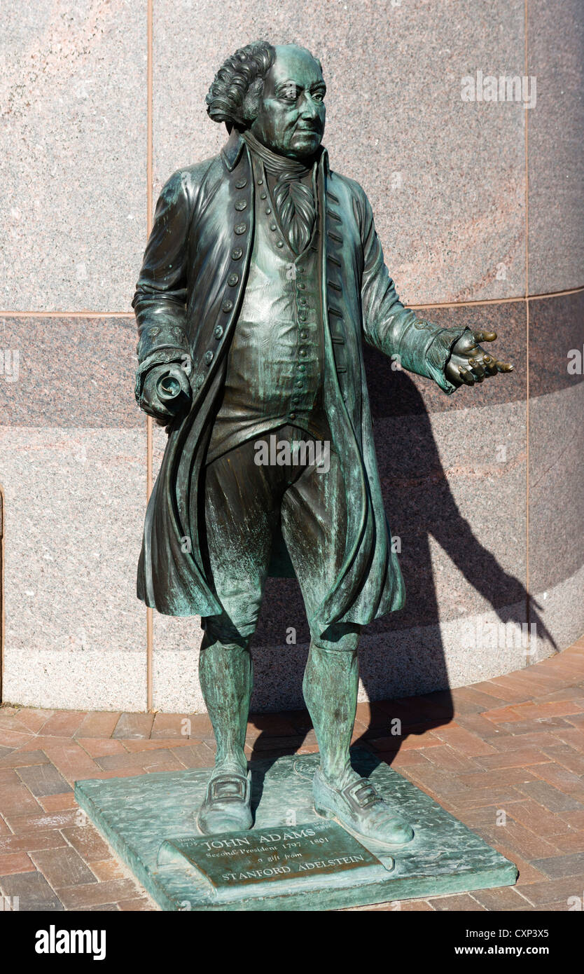 President John Adams, one of a series of bronze statues of US presidents on street corners in Rapid City, South - Stock Image