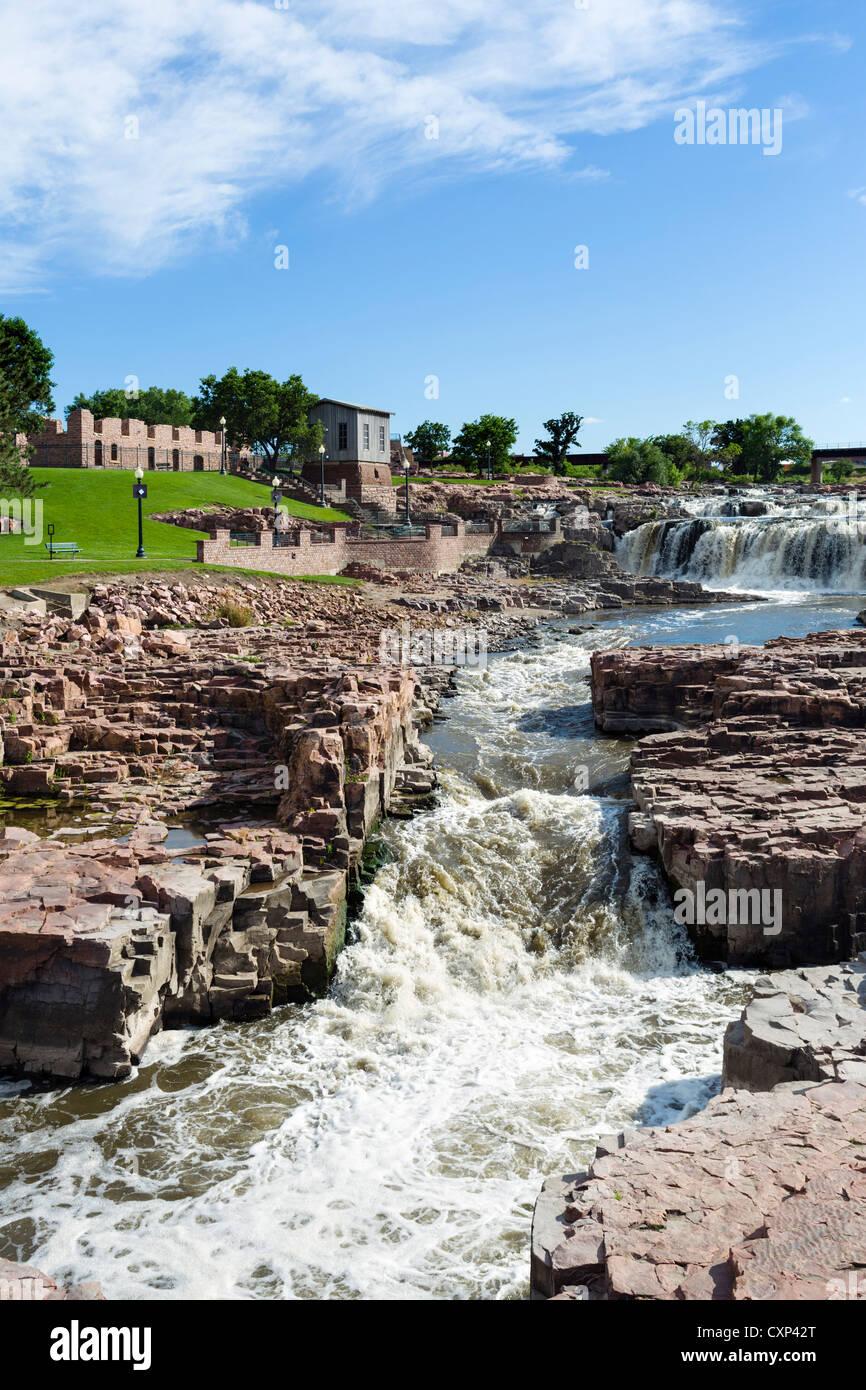 Falls on the Big Sioux River, Falls Park, Sioux Falls, South Dakota, USA - Stock Image