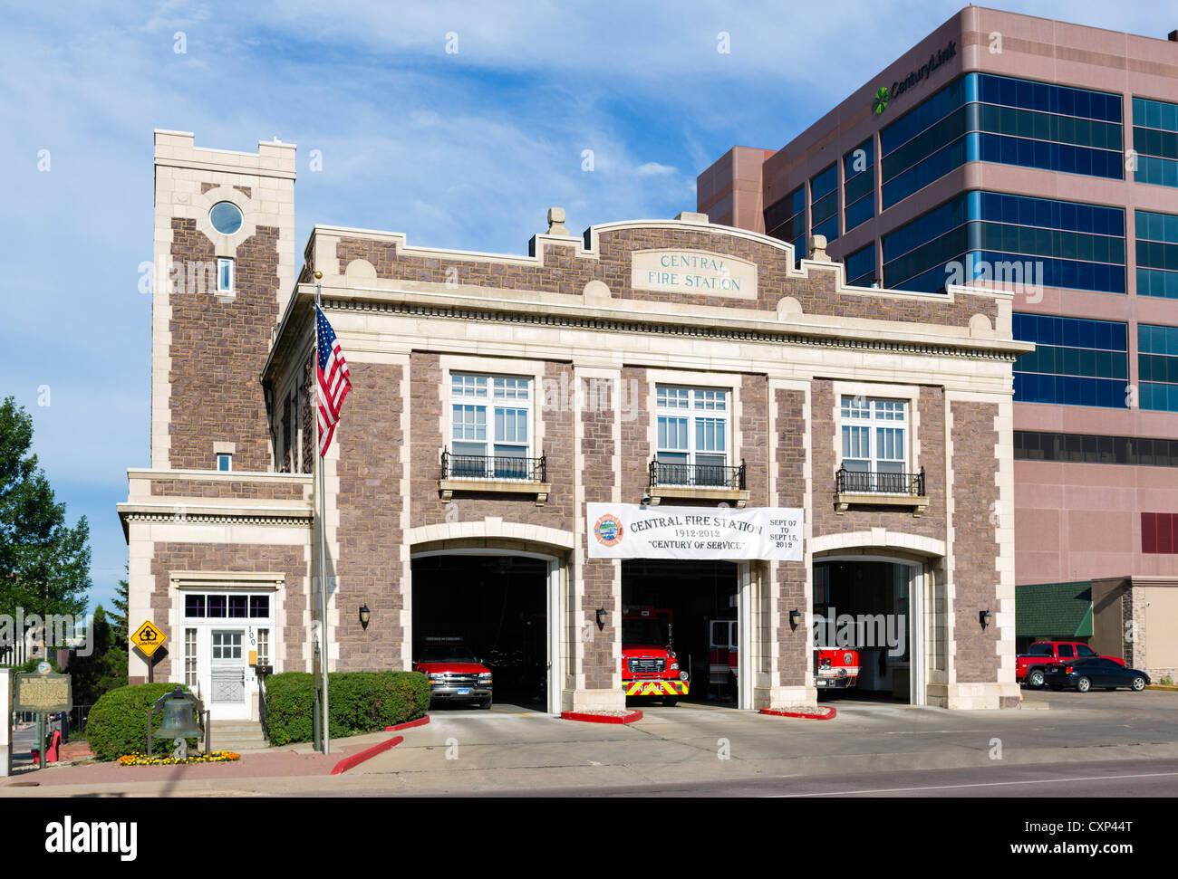 The Central Fire Station on South Minnesota Aveneu, Sioux Falls, South Dakota, USA - Stock Image