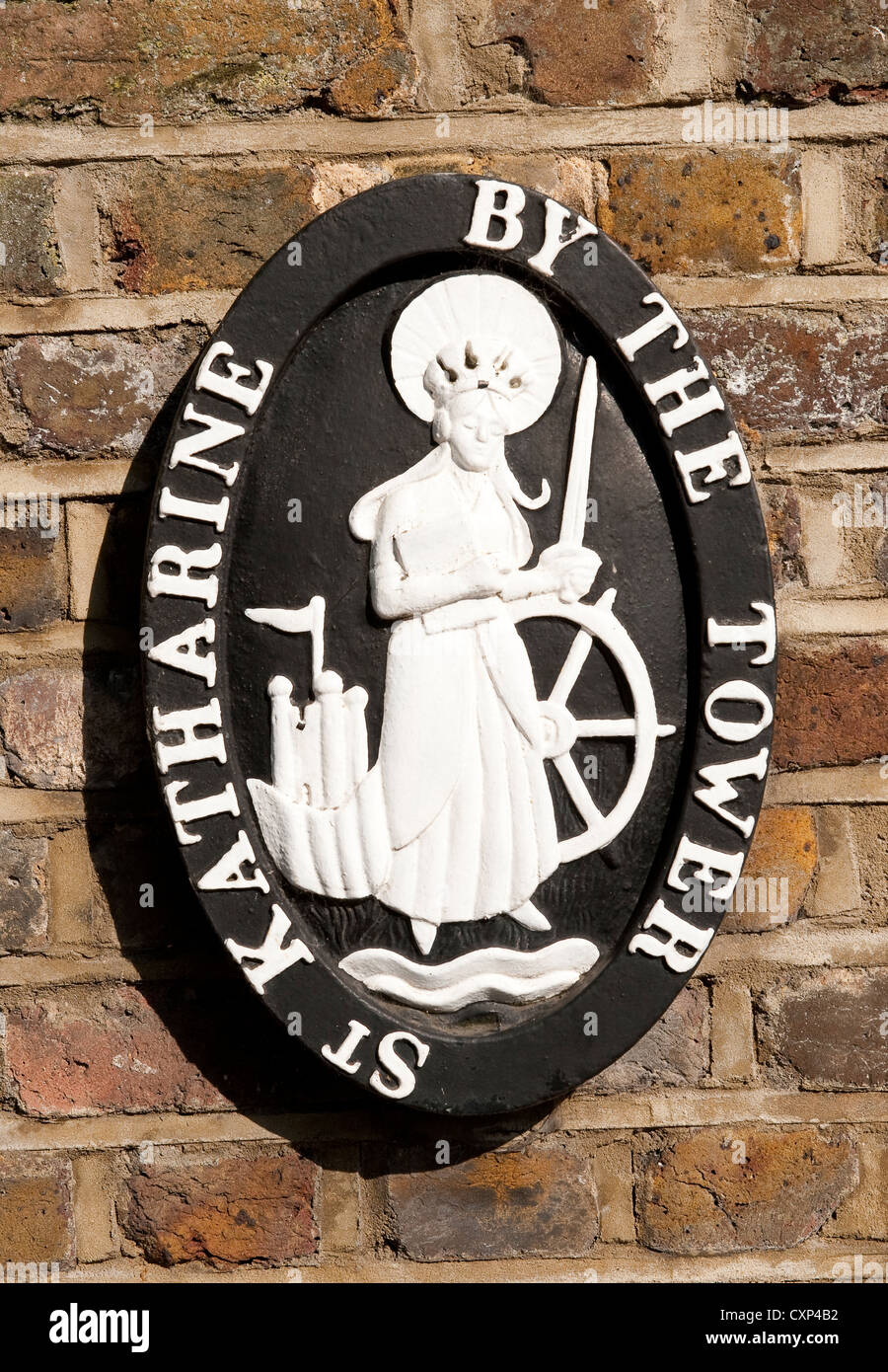 Plaque in St Katharine Docks in the Docklands area of London, England. - Stock Image