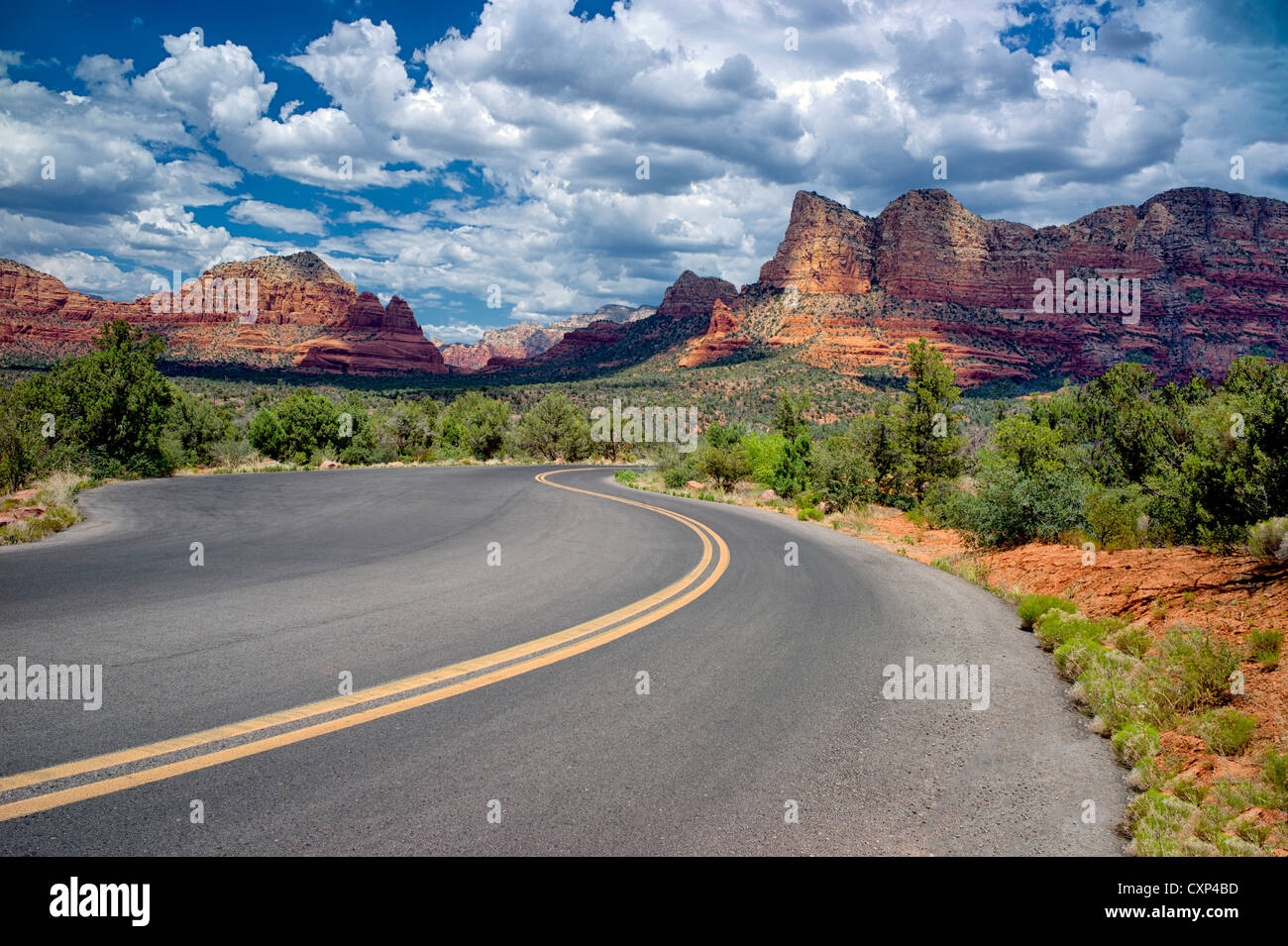 Road with clouds. Sedona, Arizona - Stock Image