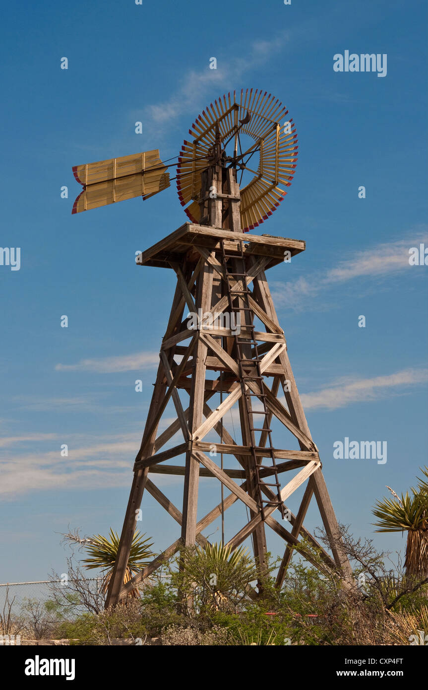Model P Eclipse windmill at Judge Roy Bean Visitor Center at Langtry, Texas, USA - Stock Image
