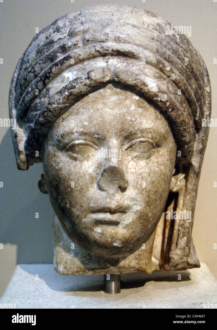 Head of statue of a priestess of the goddess Vesta. Marble. 100-20 AD. British Museum. London. England. United Kingdom. - Stock Image