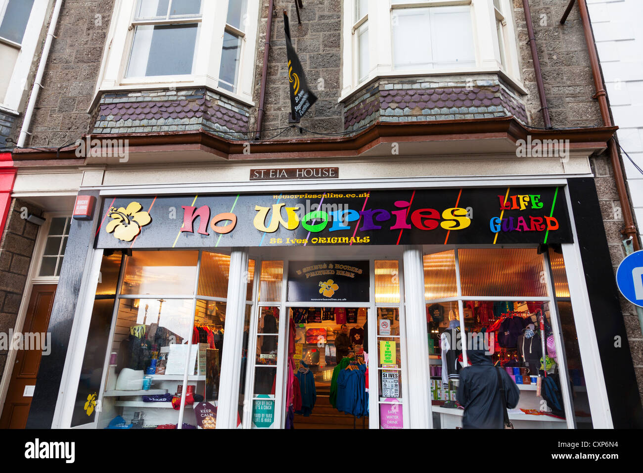St Ives Cornwall No Worries shop selling clothes and accessories - Stock Image
