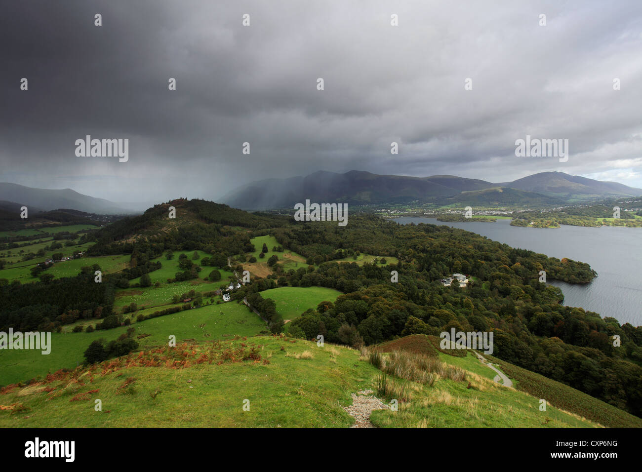 Stormy view overlooking Skiddaw mountain and Derwentwater from Cat Bells Fell, Keswick town, Lake District National - Stock Image