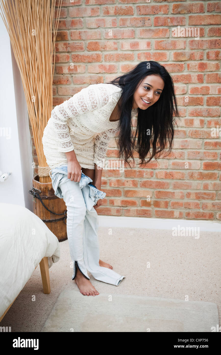 woman getting dressed stock photo 50890370 alamy