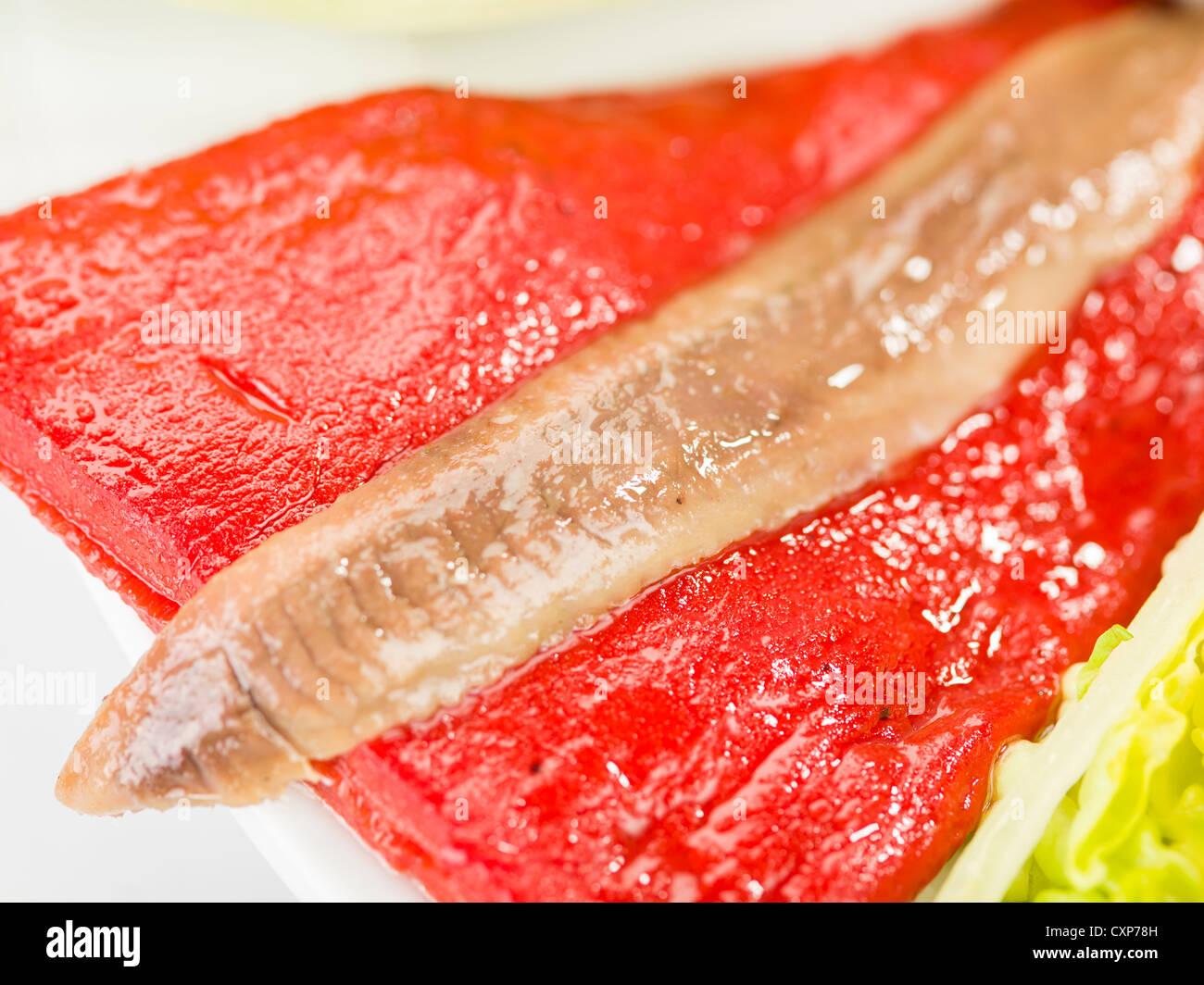 smoked salmon, anchovies, pepper and tuna spanish salad - Stock Image