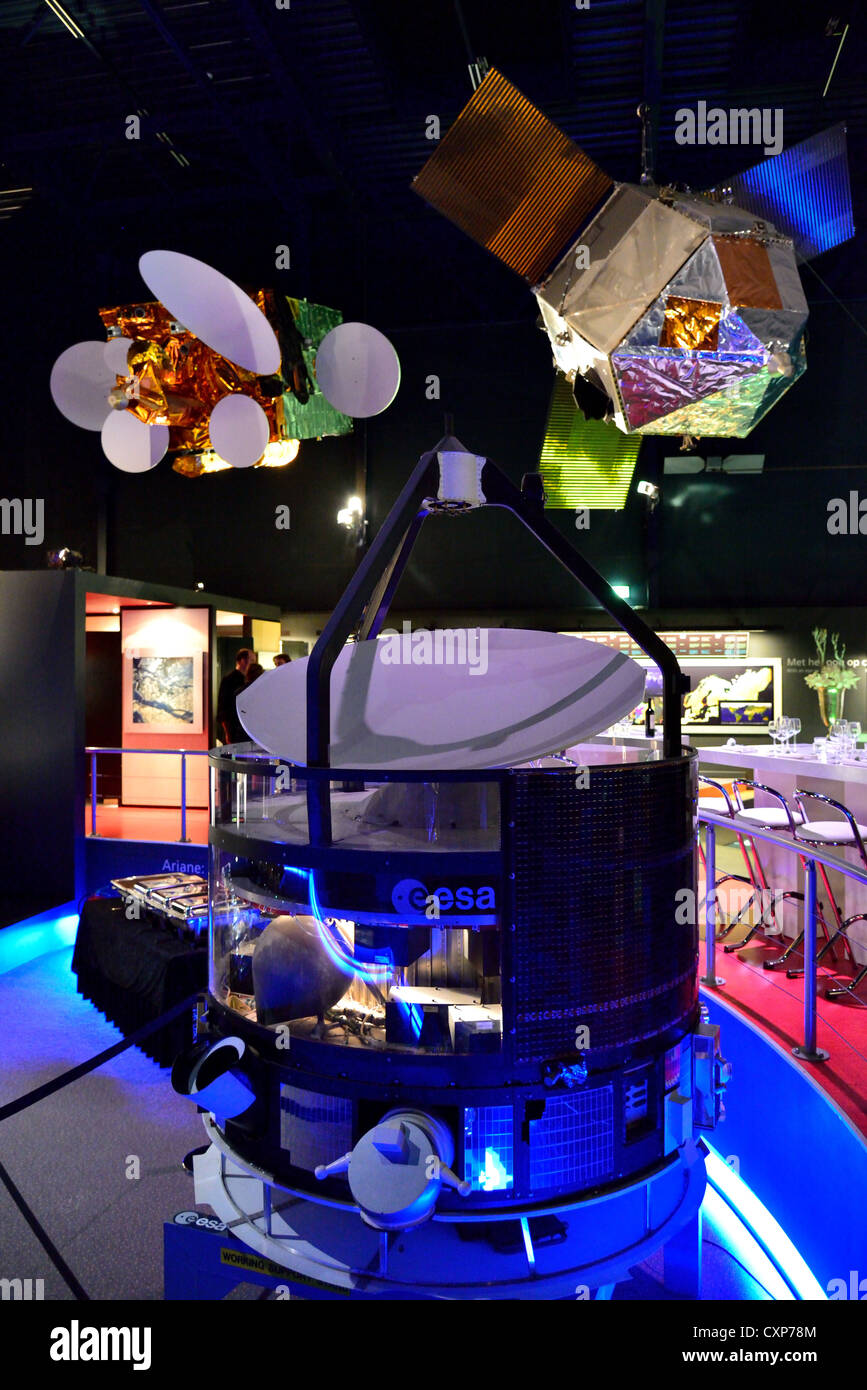 Models of satellite in display at the Space Expo, Noordwijk, Netherlands. - Stock Image