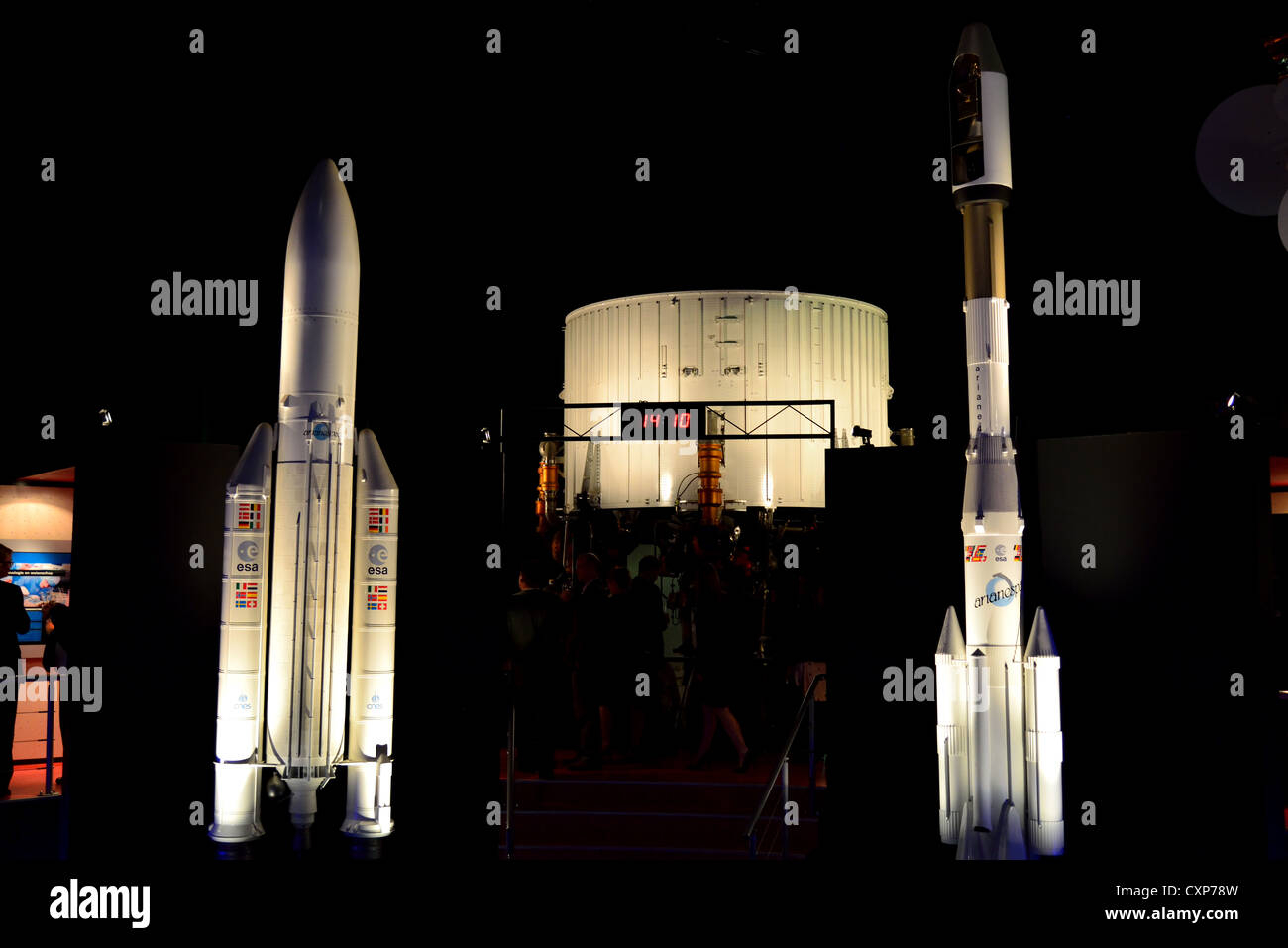 Models of Ariane 4 and 5 rockets at the Space Expo, Noordwijk, Netherlands. - Stock Image