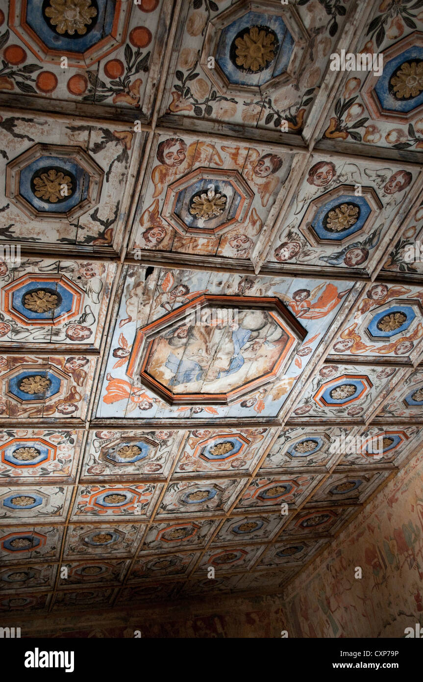Wooden ceiling in the cemetery church of St. Mary of the Rocks, Beram, Central Istria, Croatia Stock Photo