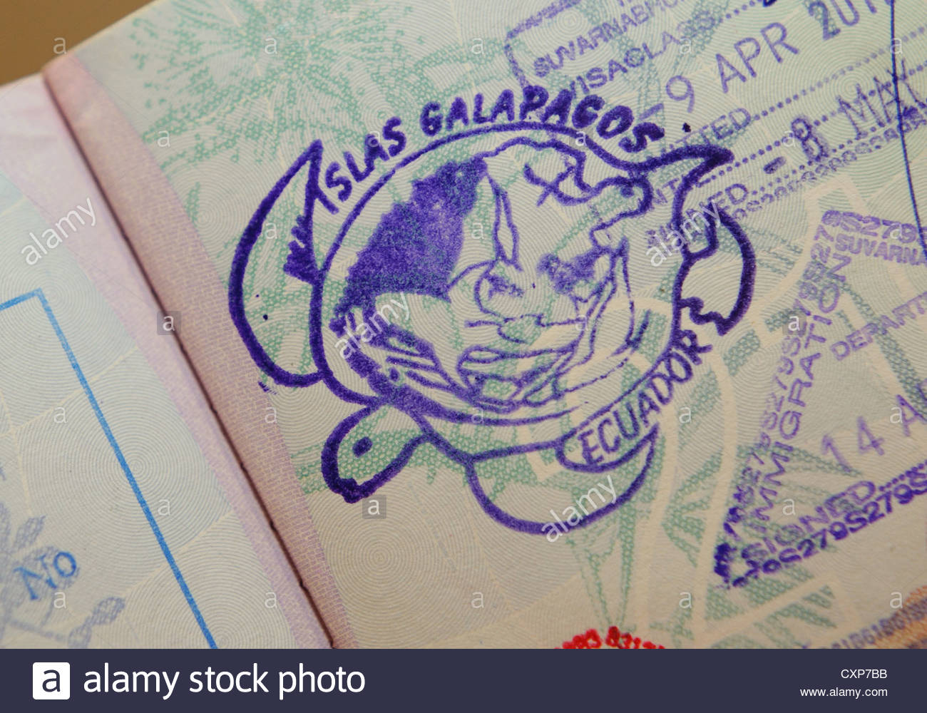 Galapagos Islands stamp in an Australian passport - Stock Image