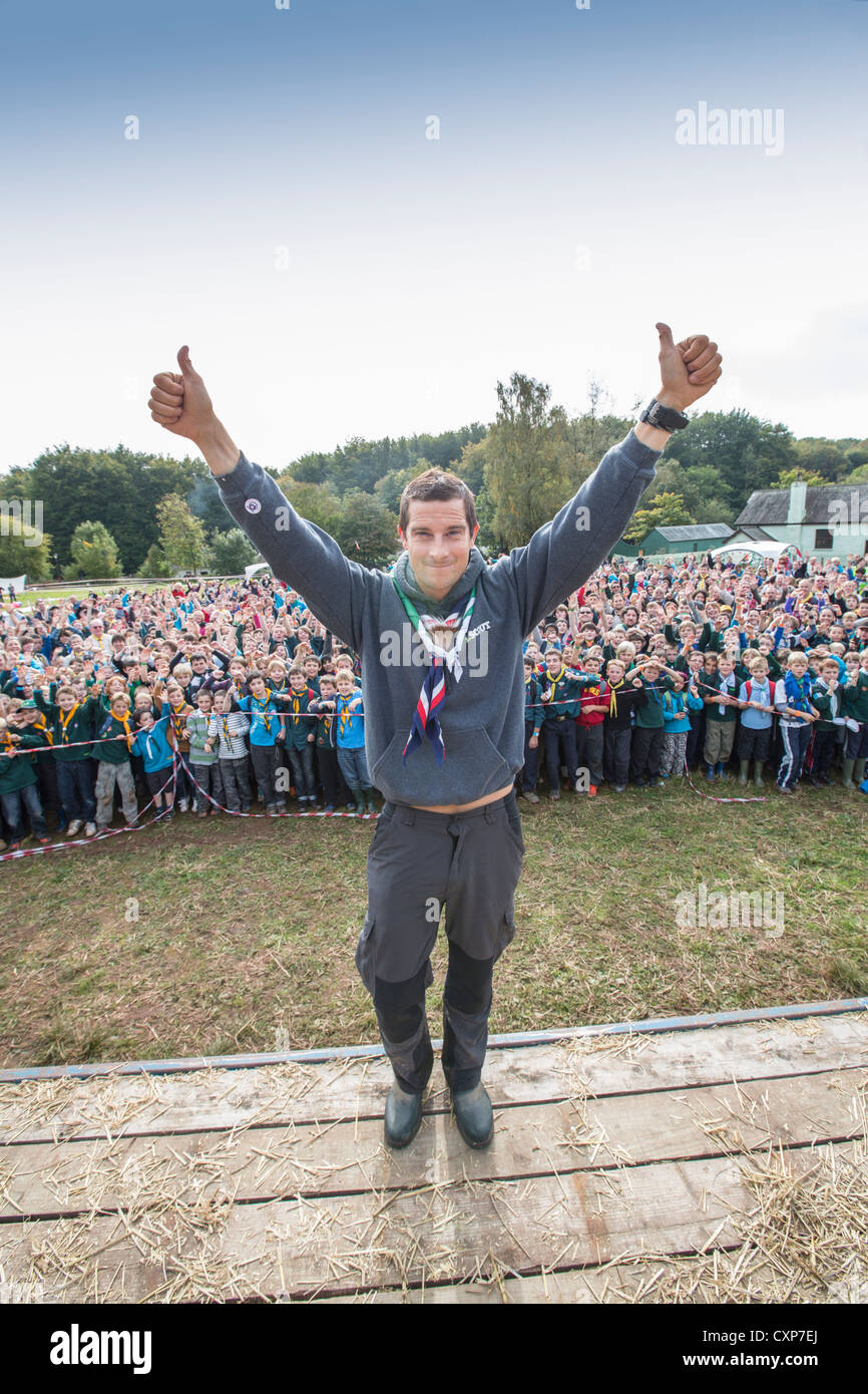 Chief Scout Bear Grylls visits a South Wales Scouting camp at St. Fagans near Cardiff. - Stock Image