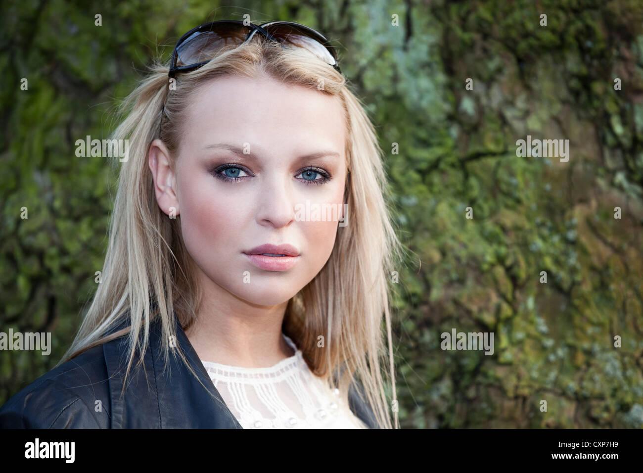 Beautiful blonde woman portrait - Stock Image