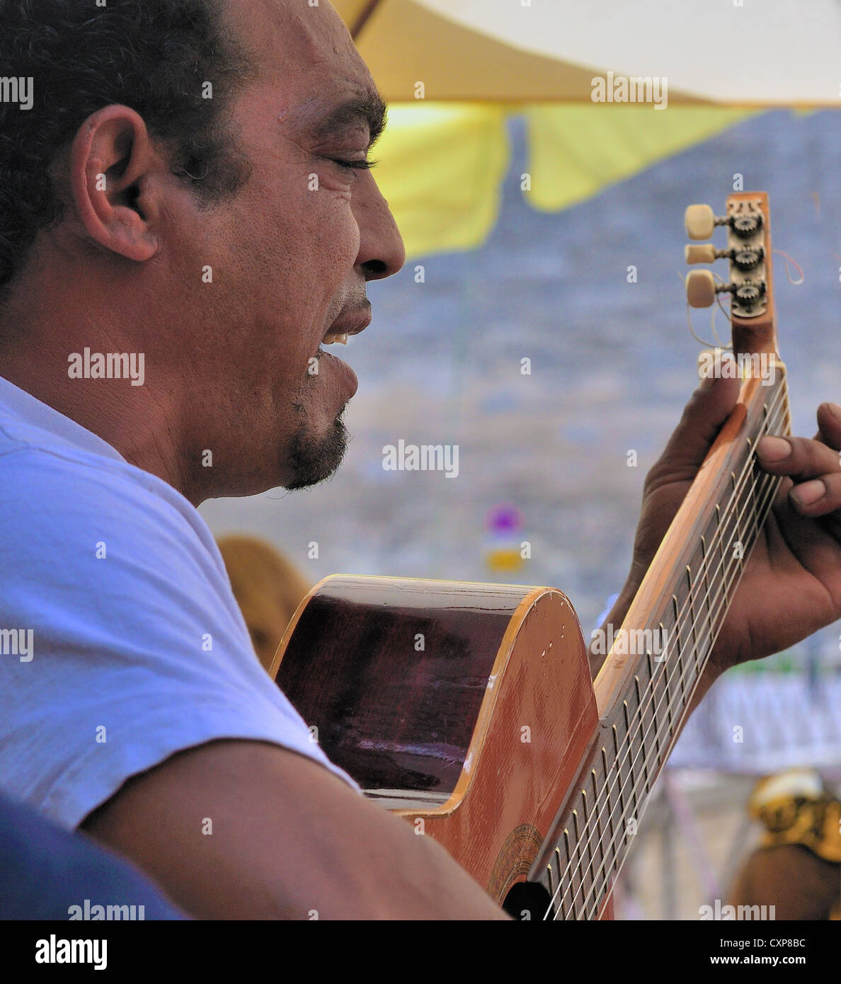 Wandering Gypsy guitarist sings Gypsy Kings songs to diners in  Arles restaurants alongside the Amphitheatre during - Stock Image