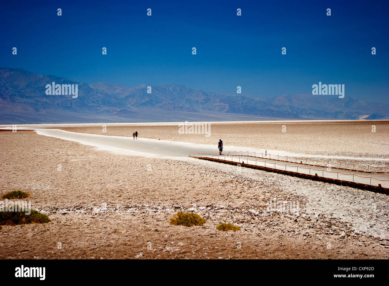 Bad water Death Valley California USA. Lowest elevation in the USA -282 ft -86m below sea level - Stock Image
